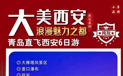 青岛出发去华山延安连线的旅游团-大慈恩寺,西岳华山,永兴坊火车八日游J