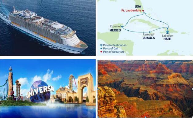 皇家加勒比邮轮海洋魅丽号-美国西海岸洛杉矶+拉斯维加斯+科罗拉多大峡谷+加勒比海邮轮13日q